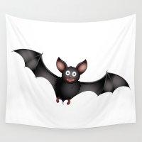 cartoon Wall Tapestries featuring cartoon bat by Li-Bro