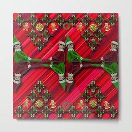 Christmas Tree Candy Cane Elf Metal Print