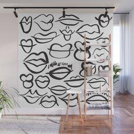 Sketchy Lips Wall Mural