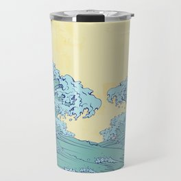 Waves in Japanese style Travel Mug