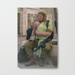 A Soldier & His Baby Metal Print