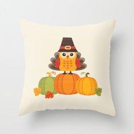 THANKSGIVING OWL IN TURKEY COSTUME ON PUMPKINS Throw Pillow