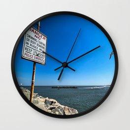 Jetty: Keep off the Rocks Wall Clock