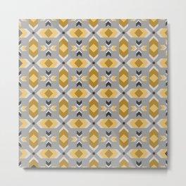 Geometric Art, Aztec Prints, Gray and Yellow, Abstract Art Metal Print