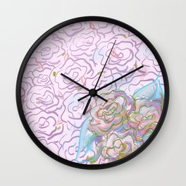 Rosy Floral Wall Clock