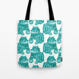 Chinese Guardian Lion Statues in Emerald Jade Tote Bag