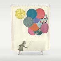 cassia beck Shower Curtains featuring Party Girl by Cassia Beck