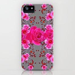 GREY &  CERISE PINK ROSES BROCADE PATTERN ART iPhone Case