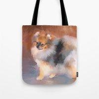 pomeranian Tote Bags featuring Tiny Pomeranian by Jai Johnson