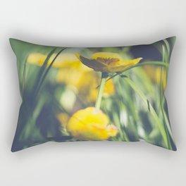 Yellow Flower in Green Grass Rectangular Pillow