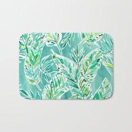 LEAFY ABUNDANCE Green Banana Leaf Print Bath Mat