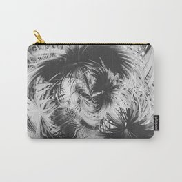 spiral palm leaves abstract background in black and white Carry-All Pouch