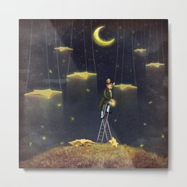 Man reaching for stars  at top of tall ladder Metal Print