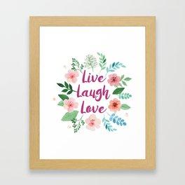 Live, laugh, love print Framed Art Print