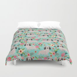 Dachshund florals - shaded cream doxie design cute floral dogs dachshunds cute dog best doxies Duvet Cover