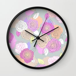 Roses, painted floral pattern Wall Clock