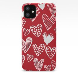 Herats red and white pattern minimal valentines day cute girly gifts hand drawn love patterns iPhone Case
