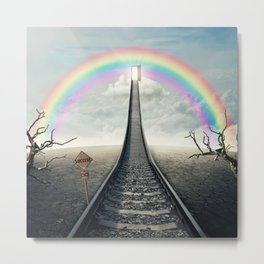 railroad to rainbow Metal Print