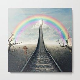 railroad to rainbow Metal Print