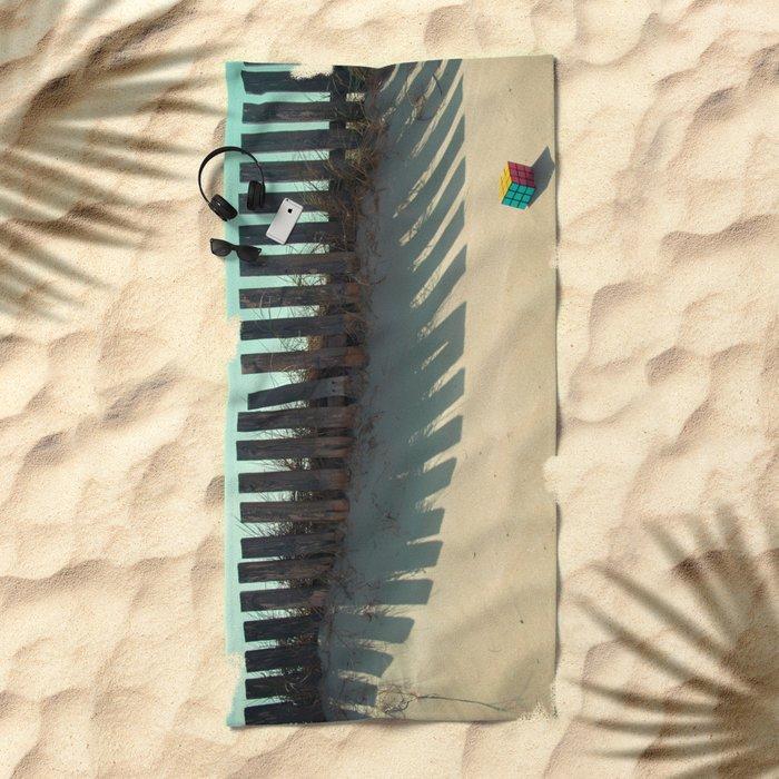 Rubik shading in the beach Beach Towel