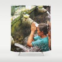 faith Shower Curtains featuring Faith by Anna Andretta