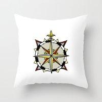 compass Throw Pillows featuring Compass by Indigo22