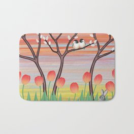 chickadees, pussy willow, & tulips Bath Mat