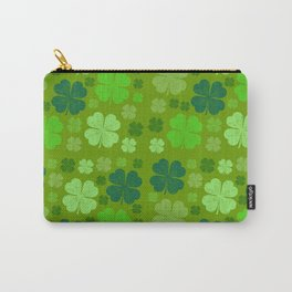 Saint Patrick's Day, Four Leaf Clovers - Green Carry-All Pouch