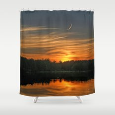 Sunset, Lake, Pine Forest & Crescent Moon Composite Shower Curtain