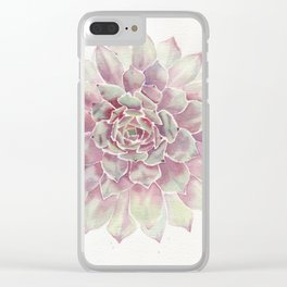 Big Succulent Watercolor Clear iPhone Case