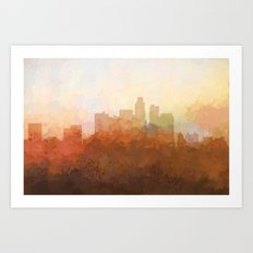 Los Angeles Skyline - In the Clouds Art Print