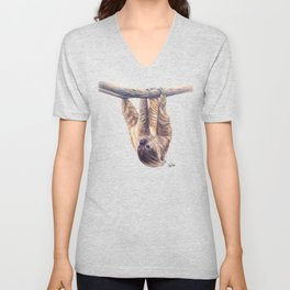Wookie the Two-Toed Sloth Unisex V-Neck