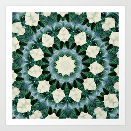 Sacramento Green and Cerulean Blue Mandala Art Print