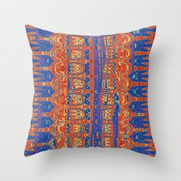 Wrinkly Batik Blue Red Mix 1 Throw Pillow