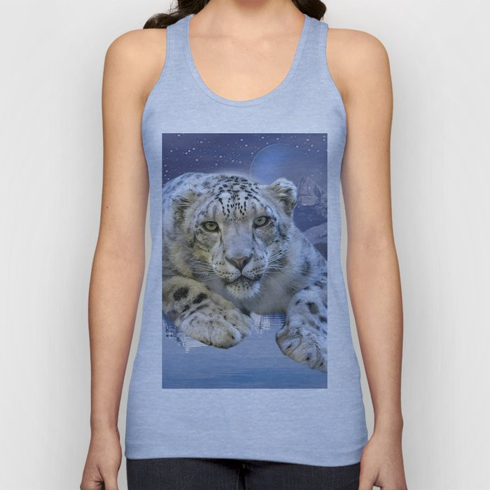 Snow Leopard and Moon Unisex Tank Top