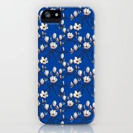 Magnolia blue floral iPhone Case