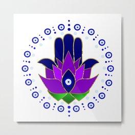 Circle of Evil Eye Lotus Hamsa Metal Print