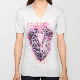 Pink Angel Wings  Unisex V-Neck