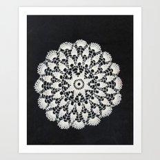 beige black lace Art Print