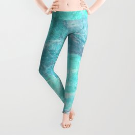 Marble Turquoise Blue Agate Leggings