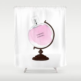 Pink Perfume Globus Shower Curtain