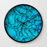 aqua Wall Clocks featuring Aqua by DuckyB