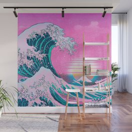 Vaporwave Aesthetic Great Wave Off Kanagawa Synthwave Sunset Wall Mural