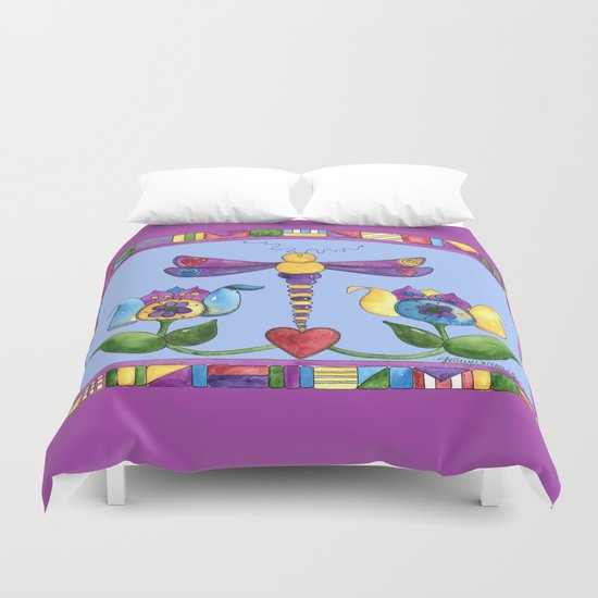 Dragonfly Love with Border Duvet Cover
