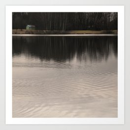 Silent place. River and woods. Art Print