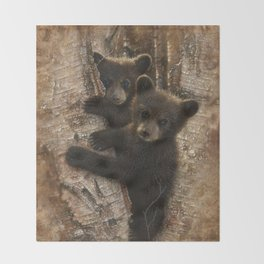 Black Bear Cubs - Curious Cubs Throw Blanket