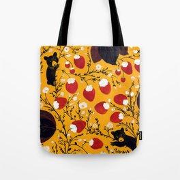 strawberry black bears Tote Bag