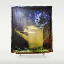One yellow watering can with violet flowers Shower Curtain