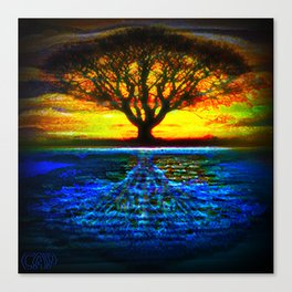 Duality Tree of Life Reflection Moon & Sun Day & Night Painting by CAP Canvas Print