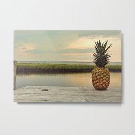 Sunset Pineapples Metal Print